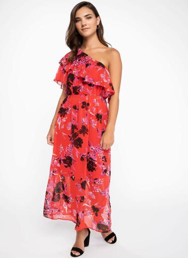 DeFacto Fırfır Detaylı Floral Desenli Tek Kol Elbise Kırmızı